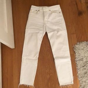 Levi's Wedgie Fit, frayed bottom jeans